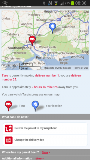 The delivery screen for DPD