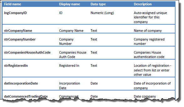A sample table design output from Microsoft Access to Word