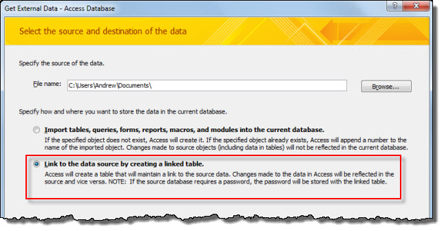 The Get External Data dialog box in Microsoft Access