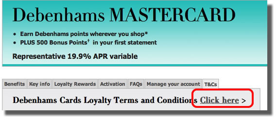 Link to Terms and Conditions on the Debenhams MasterCard website