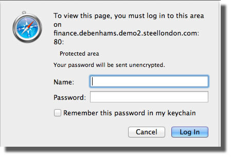 Strange login box to view terms and conditions on the Debenhams MasterCard website