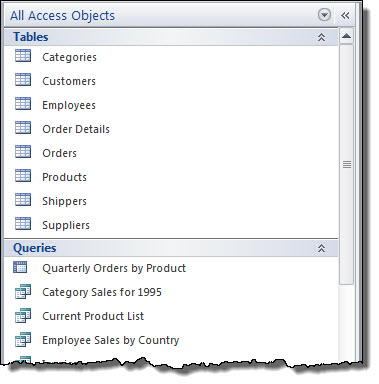 The Microsoft Access Objects pane