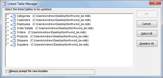 The Microsoft Access linked table dialog box