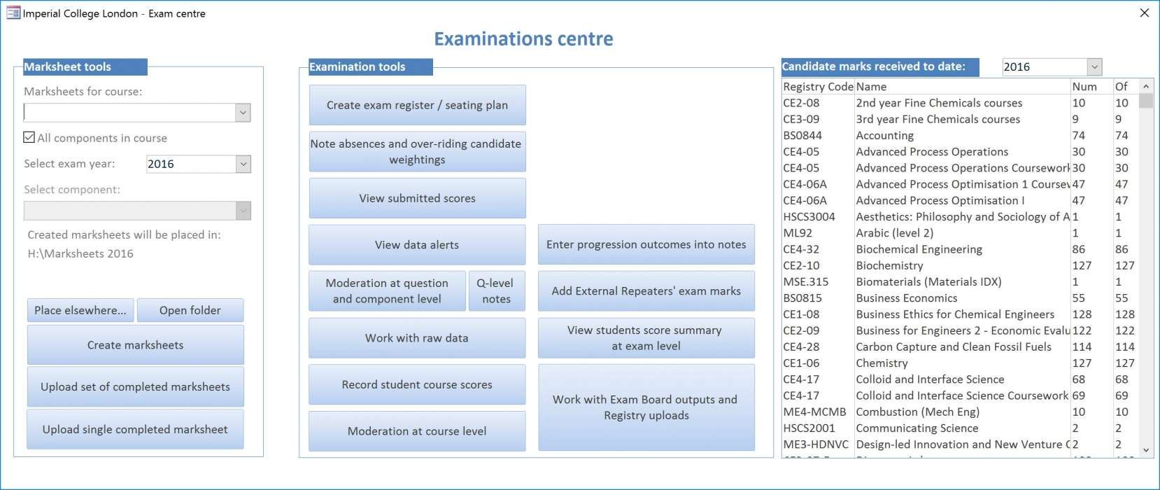 The ICL Database - the Examinations centre