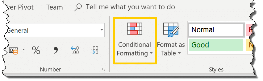 Conditional formatting button in Excel