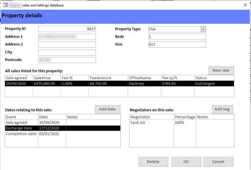 Property details screens