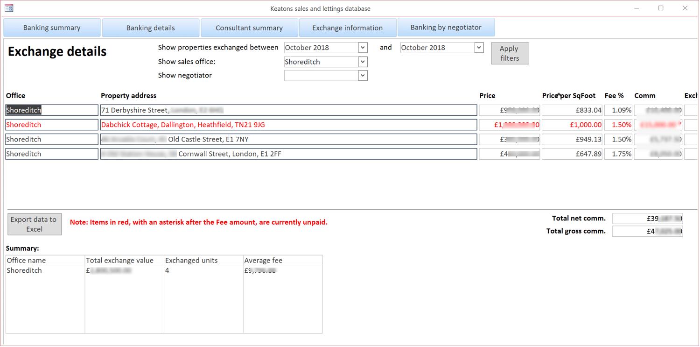 Estate agents database - exchange details screen