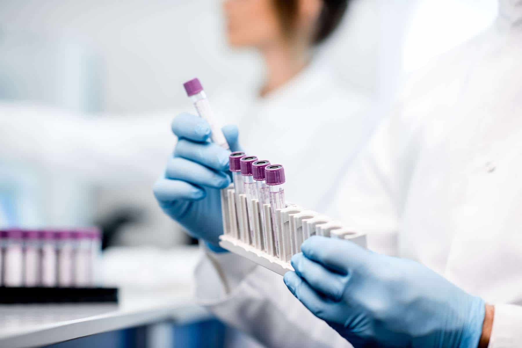 Test tubes being analysed in a forensic laboratory